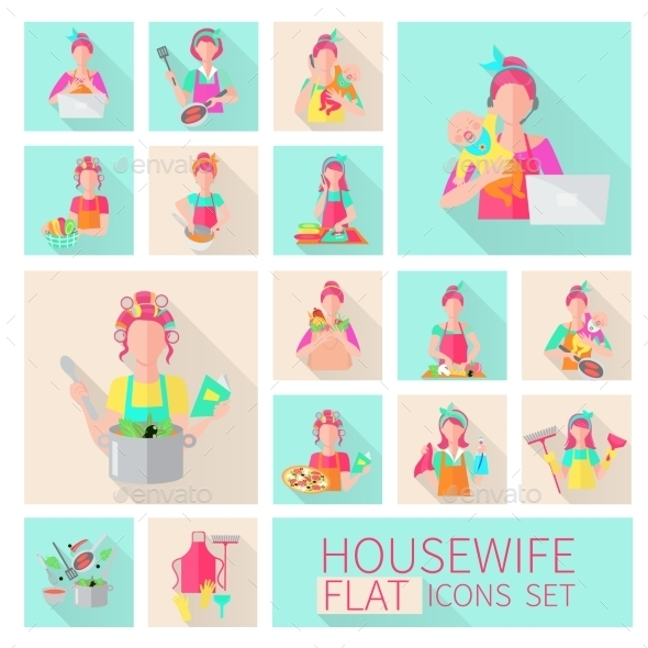 Housewife Flat Set - People Characters