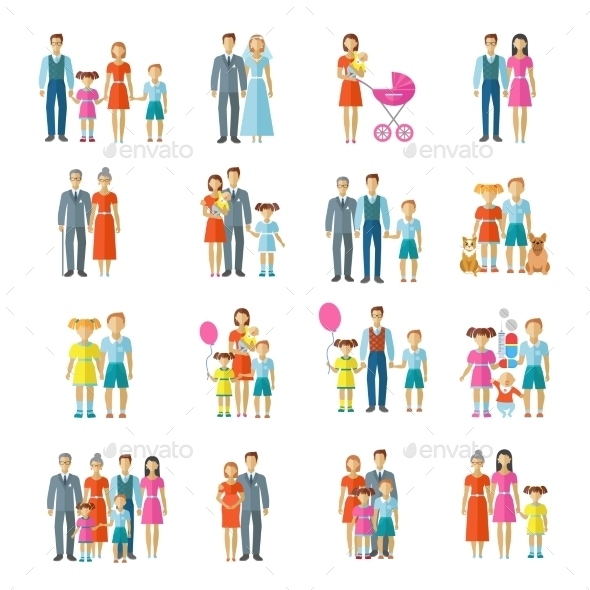 Family Icons Flat - People Characters
