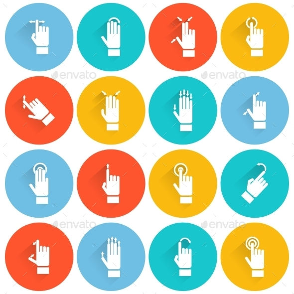 Hand Touching Screen Flat Icon - Web Icons