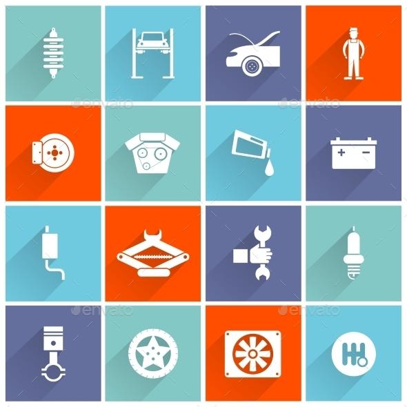 Auto Service Flat Icon - Web Icons