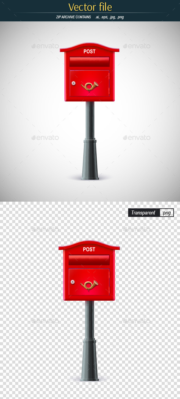 Classic Red Mail Box on a Pole - Man-made Objects Objects