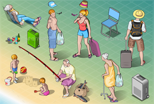 Isometric Tourists Peoples Set in Vacation - People Characters