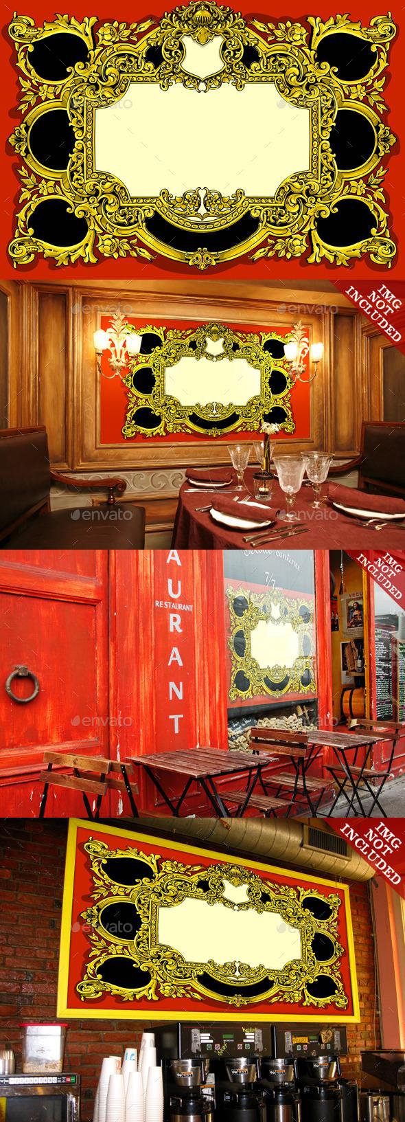 Vintage Gold Baroque Frame on Red Background - Decorative Vectors