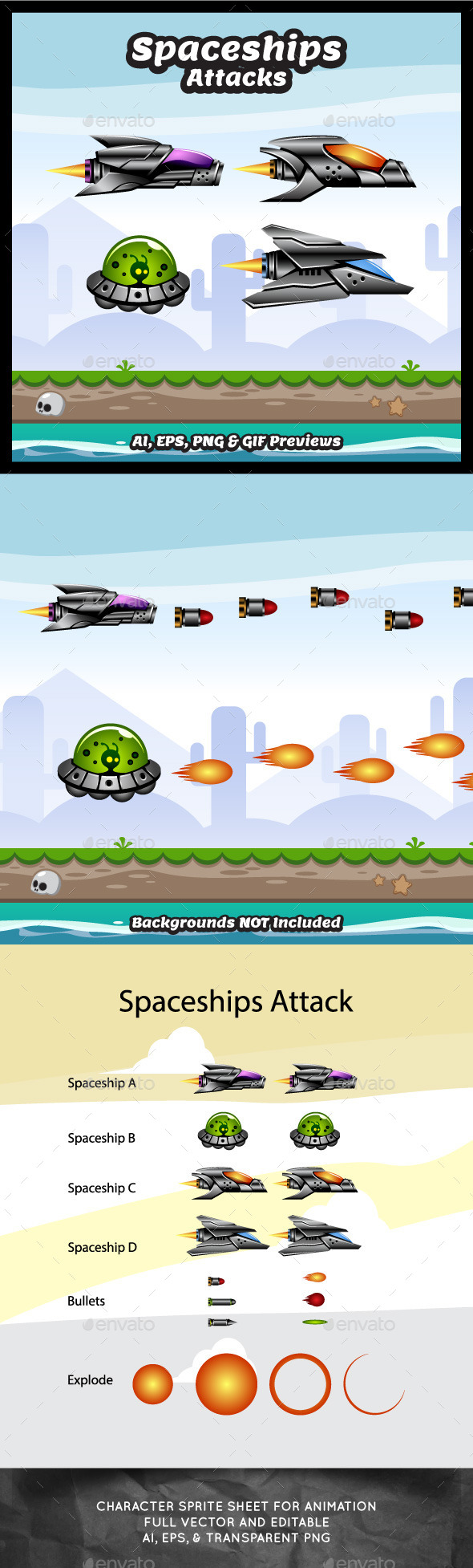 Spaceship Attacks - Sprites Game Assets