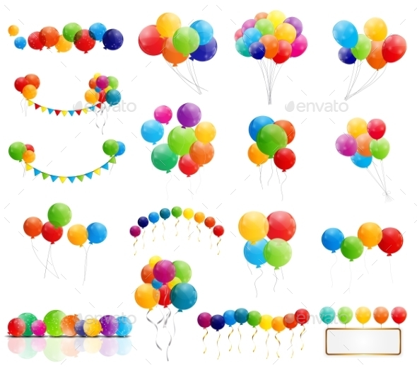 Color Glossy Balloons Mega Set Vector Illustration - Birthdays Seasons/Holidays