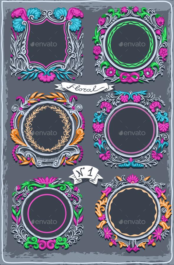 Set of Six Vintage Graphic Colored Garlands - Decorative Vectors