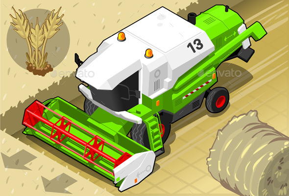 Isometric Green Thresher at Work in Front View - Conceptual Vectors