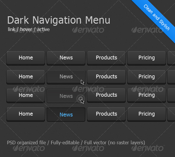 Dark Navigation Menu - Buttons Web Elements