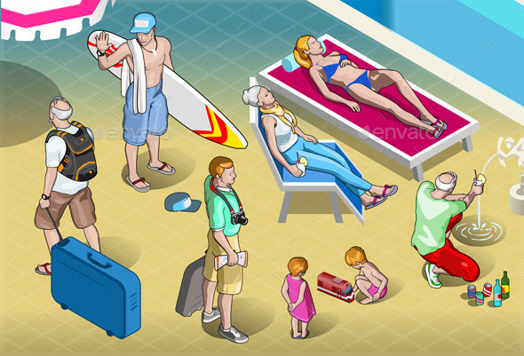 Isometric Tourists Peoples Set at Resort - People Characters