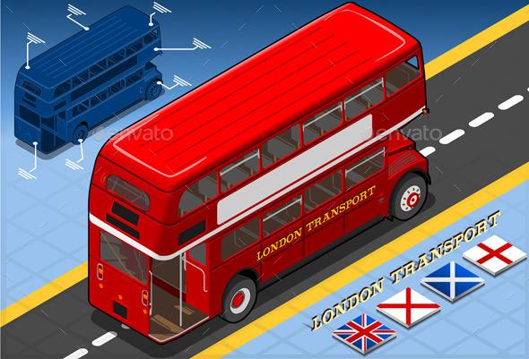Isometric Double Decker Bus in Rear View - Objects Vectors