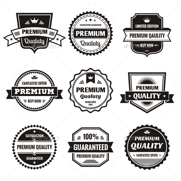 9 Labels and Badges - Vector Set - Decorative Symbols Decorative
