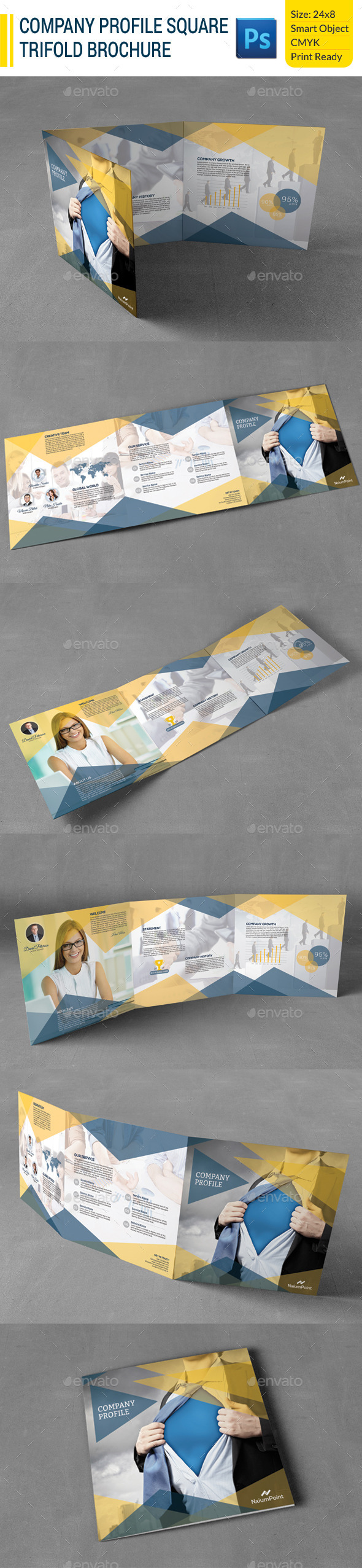 Company Profile Square Trifold Brochure - Corporate Brochures