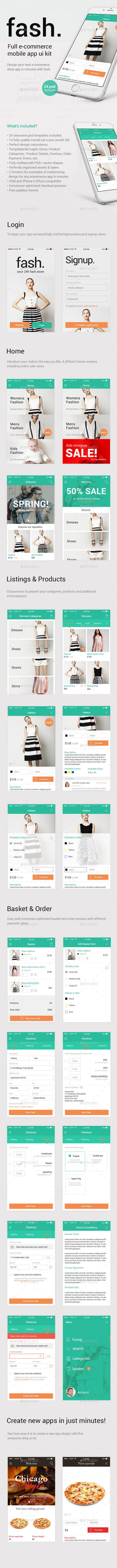 Fash - A Mobile E-Commerce Shop UI Design Kit - User Interfaces Web Elements