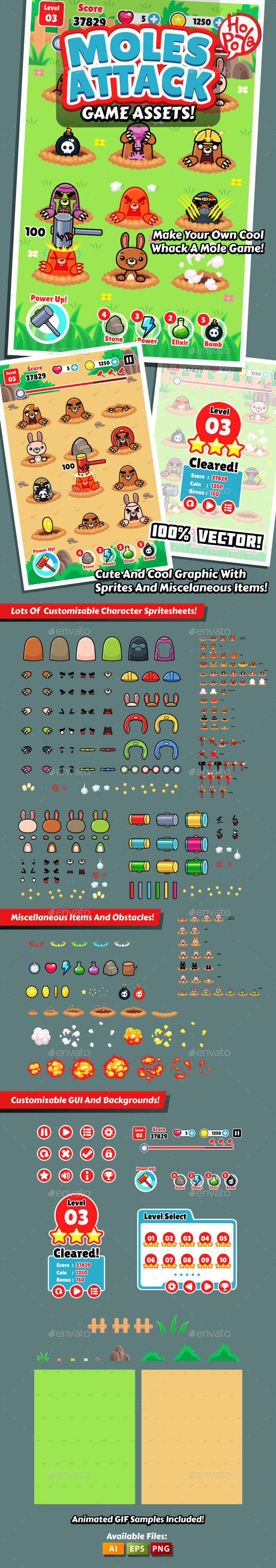 Moles Attack Game Assets - Game Kits Game Assets
