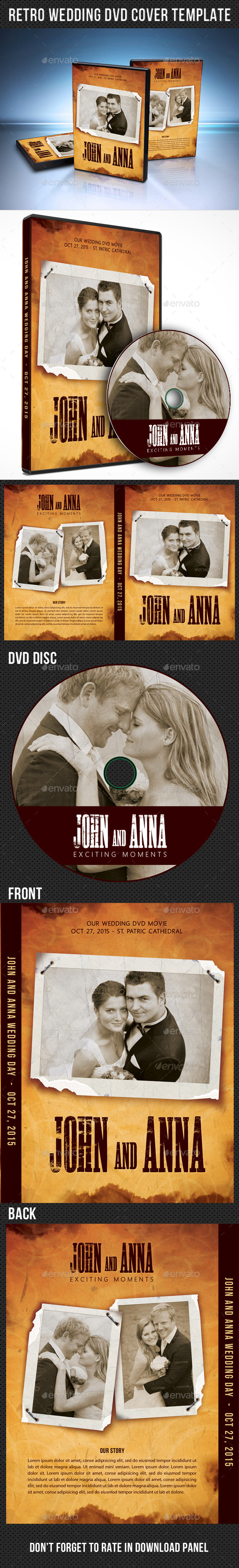 Retro Wedding DVD Cover Template 04 - CD & DVD Artwork Print Templates