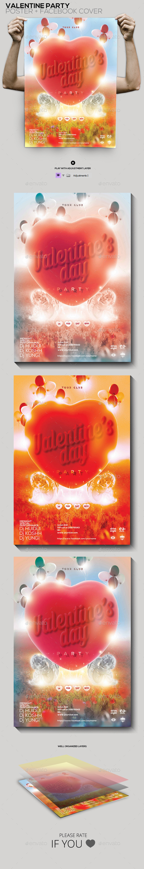 Valentine's Day Party Poster/Facebook Cover - Clubs & Parties Events