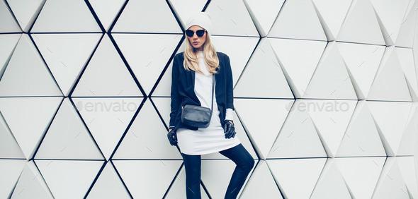Glamorous blonde on the street. urban fashion style - Stock Photo - Images