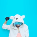 teddy bear girl on a blue background. Crazy winter party. Club d