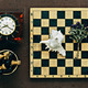 Chess, clock and seashell on old wooden background - PhotoDune Item for Sale