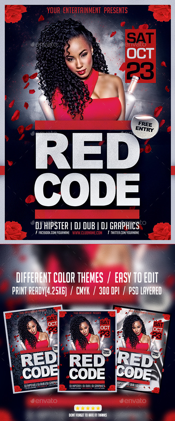 Red Code Night Party Flyer PSD Template - Events Flyers