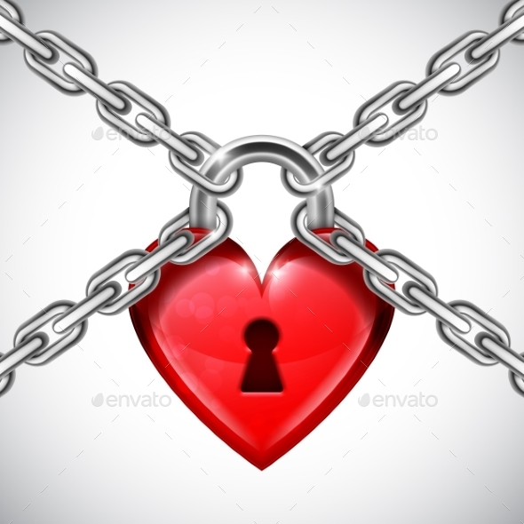 Red Heart Lock and Chains - Valentines Seasons/Holidays
