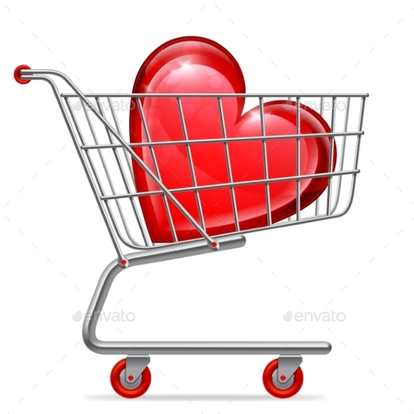 Love Heart in Shopping Cart - Retail Commercial / Shopping