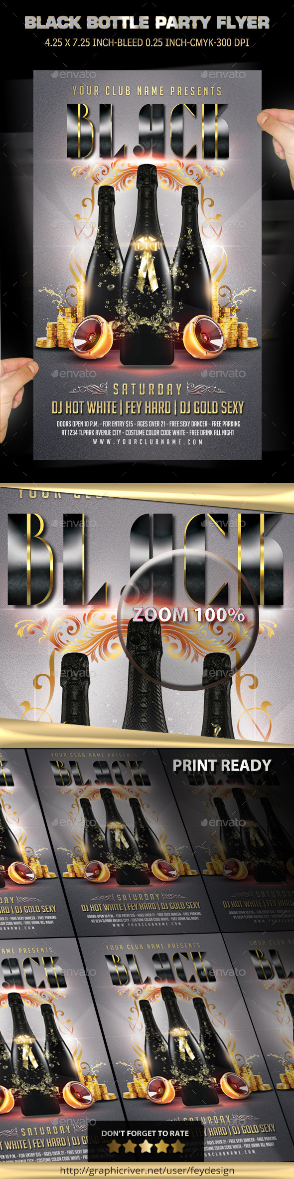 Black Bottle Party Flyer - Clubs & Parties Events