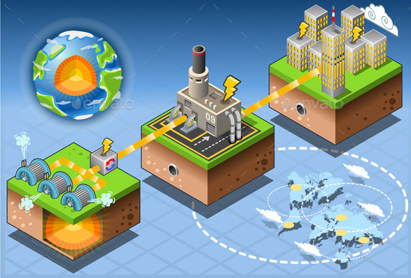 Isometric Infographic Geothermal Energy Harvesting - Buildings Objects