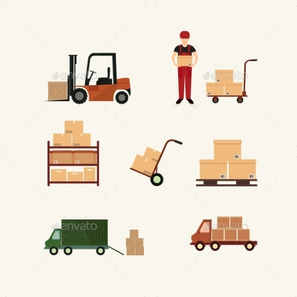 Warehouse Transportation and Delivery Icons - Web Technology