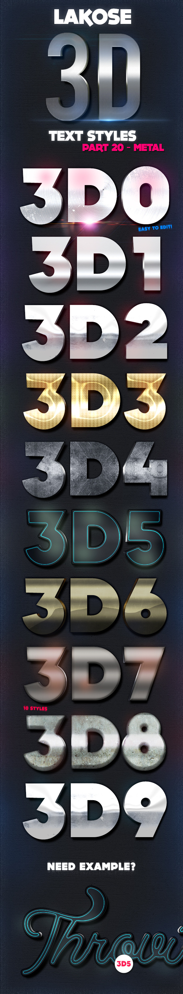 Lakose 3D Text Styles Part 20 - Text Effects Styles