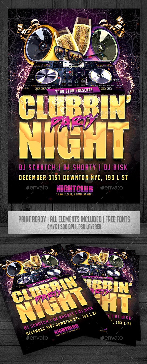 Clubbin' Party Night Flyer - Events Flyers