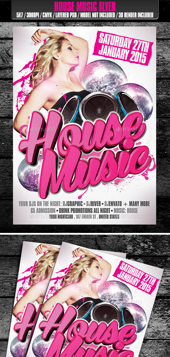 House Music Club Flyer - Clubs & Parties Events