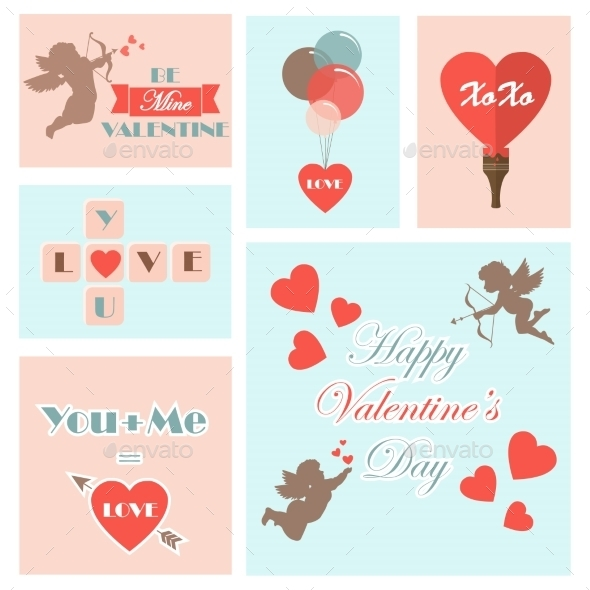 Set of Valentine's Cards - Valentines Seasons/Holidays