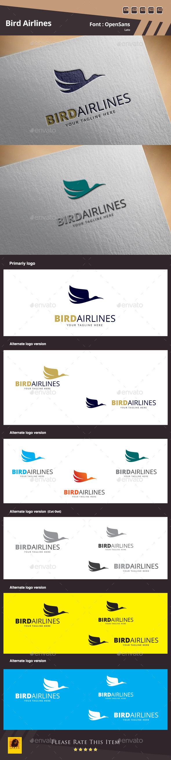 Bird Airlines Logo Template - Animals Logo Templates