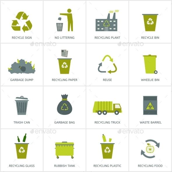 Recycling Garbage Icons Set - Seasons Nature