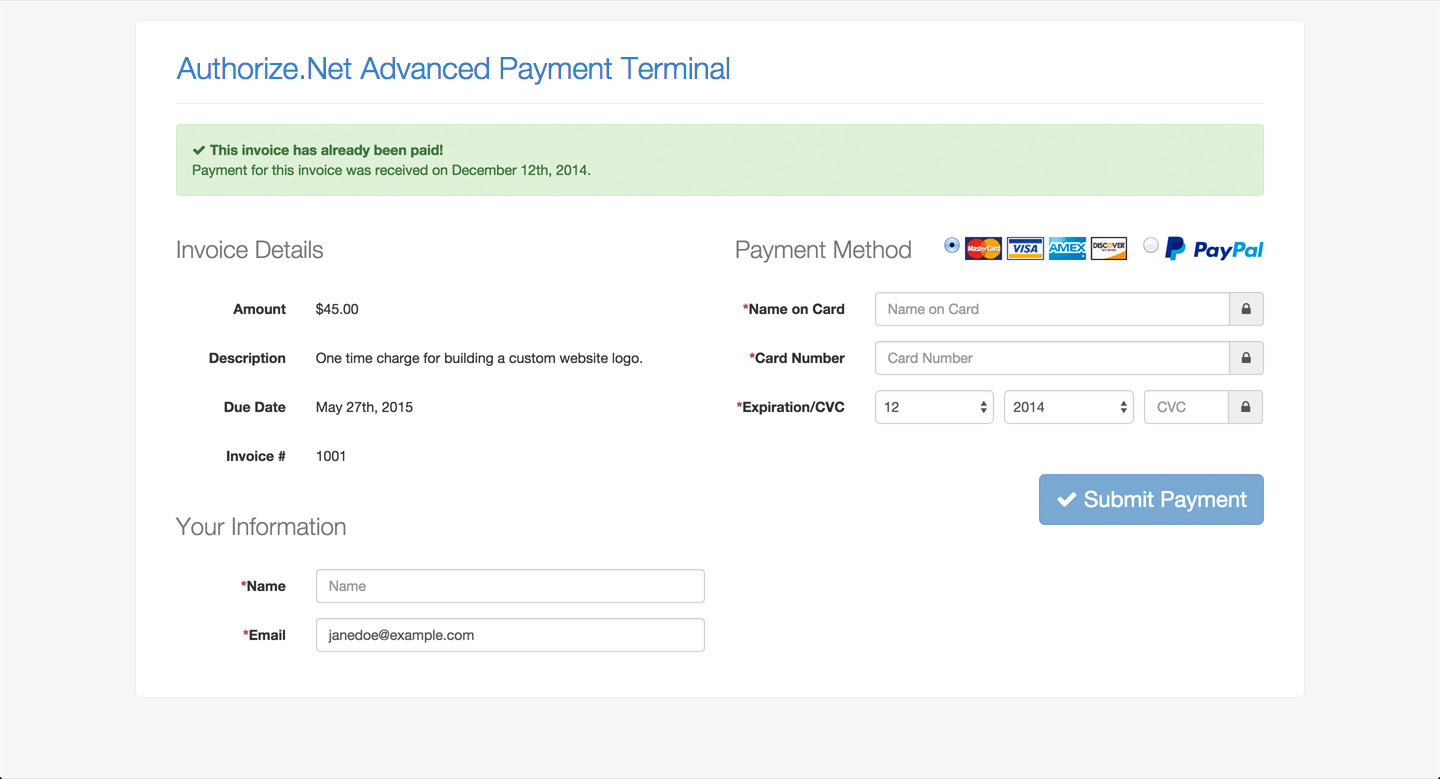 Authorize Net Advanced Payment Terminal By Devinlewis