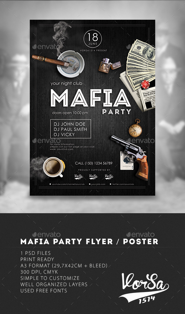 Mafia Flyer Poster - Clubs & Parties Events