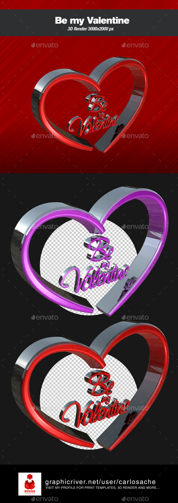 Be my Valentine - 3D Render Text