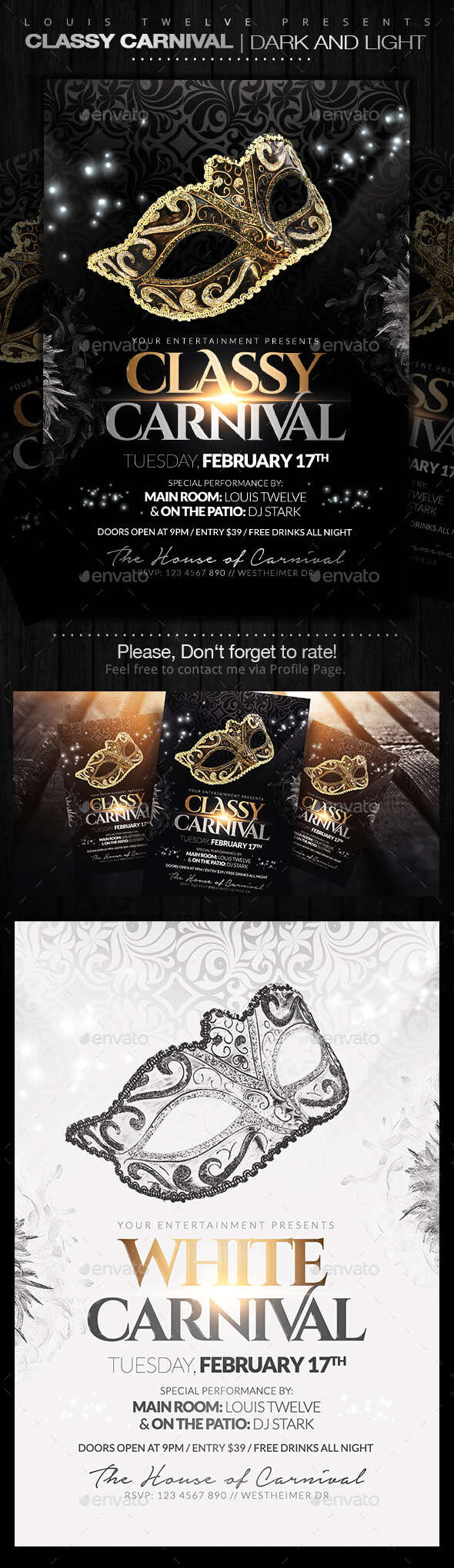 Classy Carnival or Masquerade Ball Flyers - Clubs & Parties Events