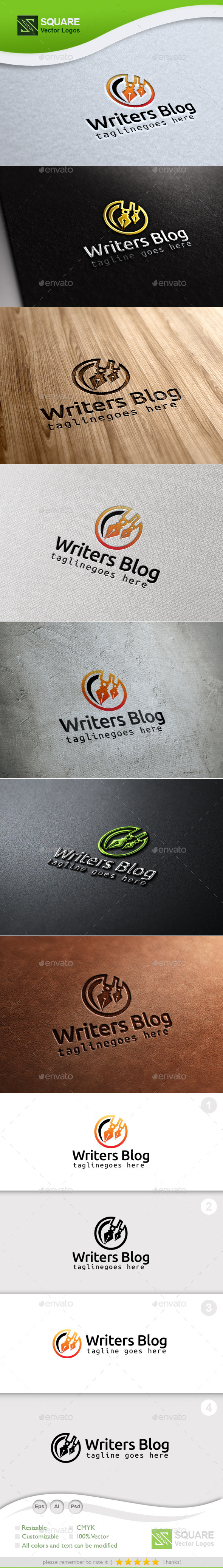 Writer Blog Custom Logo Template - Symbols Logo Templates