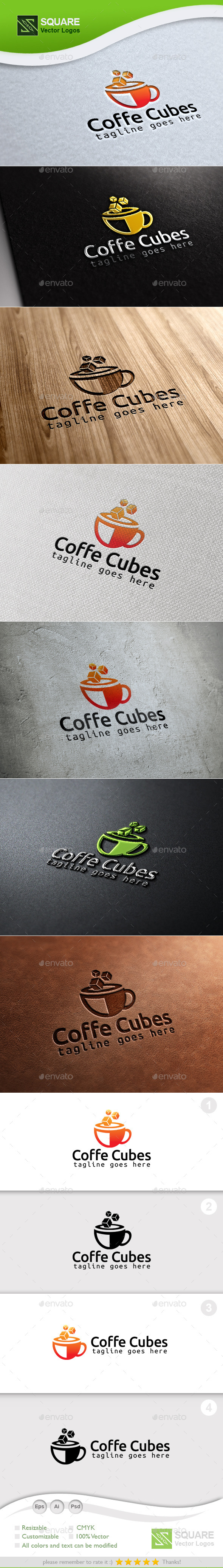 Coffee Cubes Custom Logo Template - Symbols Logo Templates