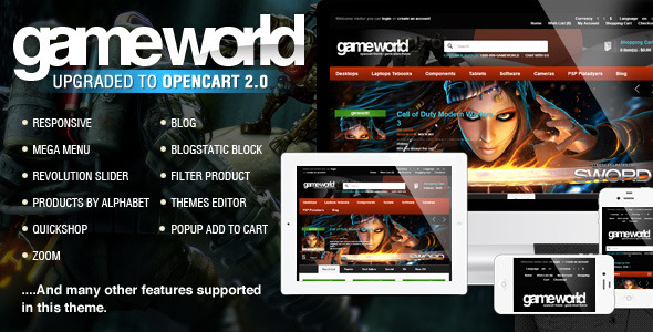 OpenCart Game Theme - GameWorld