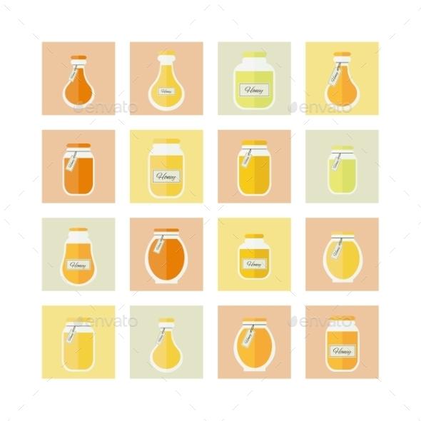 Honey Jar Icons - Food Objects