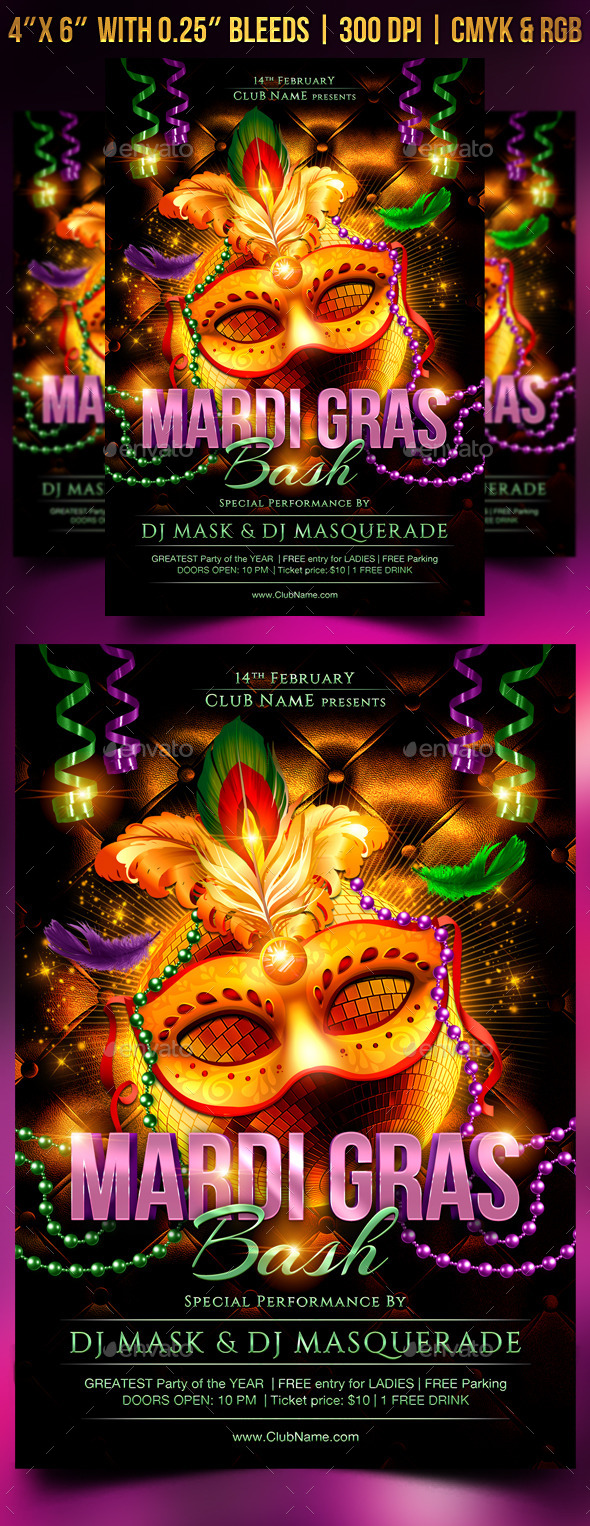 Mardi Gras Bash Flyer Template - Clubs & Parties Events