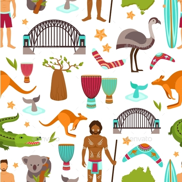 Australia Seamless Pattern - Backgrounds Decorative