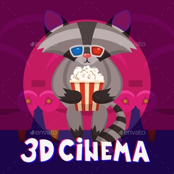 Raccoon Cinema Poster - Animals Characters