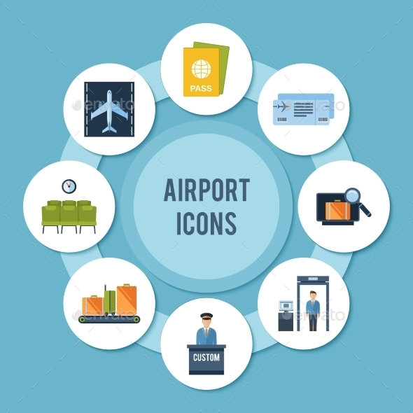 Airport Icons Set - Miscellaneous Vectors