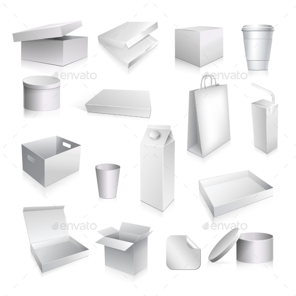 Packaging Set Blank - Objects Vectors