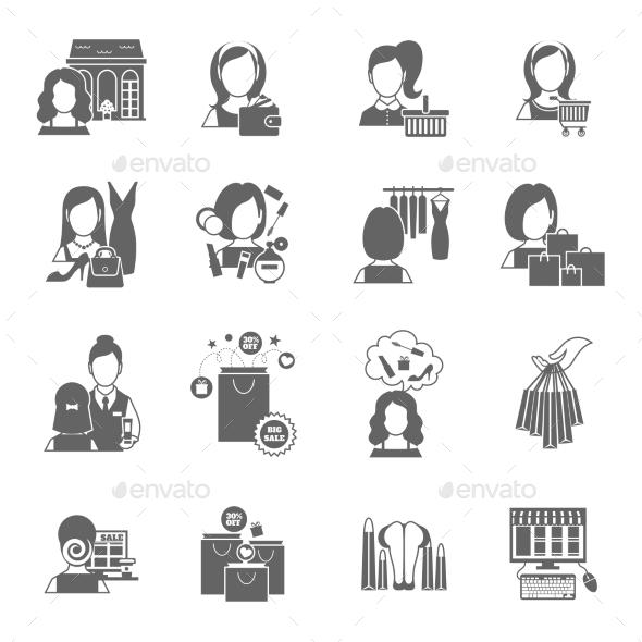 Woman Shopping Icon Black - Web Elements Vectors