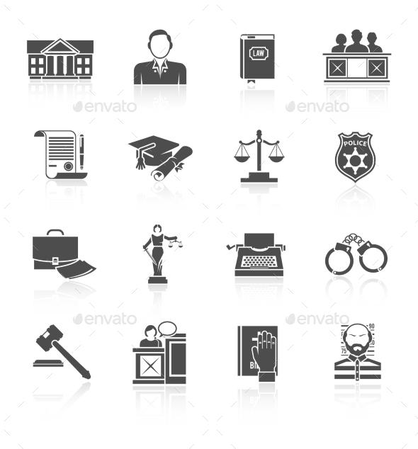 Law Icon Set - Web Elements Vectors